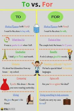 Difference between TO and FOR. TO and FOR are prepositions that are often confused. In this lesson, you will know the difference between For and To and how to use them correctly. English Grammar Rules, Teaching English Grammar, English Writing Skills, English Vocabulary Words, Grammar Lessons, English Language Learning, English Lessons, Essay Writing, Writing Lessons