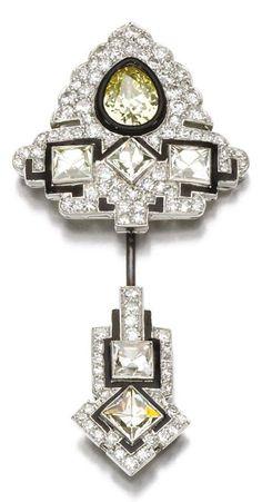 An Art Deco diamond and enamel jabot pin, Cartier, circa 1925.