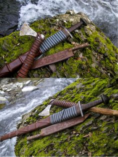 Viking axe, sword, and seax. http://maenadscraft.tumblr.com/