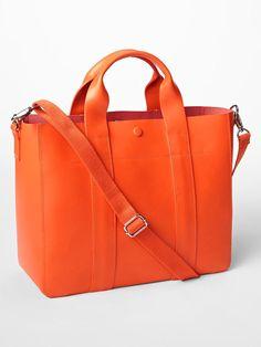 gap leather tote crossbody leatterman orange