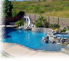 swimming pool design with slide