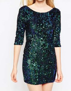 Girl In Mind | Girl in Mind Bodycon Dress In Iridescent Sequins at ASOS
