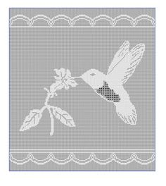 hummingbird filet from Kim Guzman filet chart, chain, hummingbird, chart free, crochet patterns