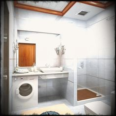 Small Bathroom Remodel With White Wash Machine Also Glass Shower Panel And White Sink And White Pop Ceiling Also Light Brown Carpet