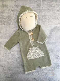 Newborn Boy Photo Prop Outfit - Olive Soft Brushed Hoodie Romper - READY TO SHIP by wrenandwillowdesigns on Etsy