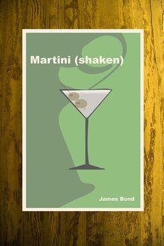 James Bond Poster 007 Movie Poster Martini Print Cocktail Art  via Etsy.
