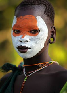 Africa |  Young Suri girl seen by the Kibish River.  South Omo, Ethiopia.  Image credit Dietmar Temps