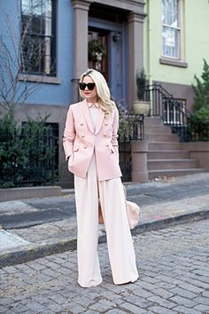 rose quartz blazer and pants
