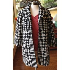 🎉HP🎉 ABS by Allen Schwartz Houndstooth Coat Oversized houndstooth/plaid wool-blend trapeze coat. Styled with a single front snap enclosure and cuffed three-quarter sleeves. Acrylic/wool/nylon. Size 2 but I'm a size 6 and it fits me great. Would fit sizes 2-6. ABS Allen Schwartz Jackets & Coats