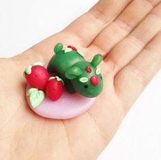 Strawberry Creature Figurine Handmade Polymer Clay by Shymori