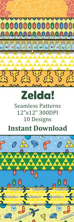 Digital paper Paper inspired by my favorite video game series The Legend of Zelda. Perfect for scrapbooking projects, invitations, announcements, party favors, wallpapers, graphic design, stationary and paper crafts. This paper pack features some of Link's favorite items to use while adventuring and saving the world against evil.