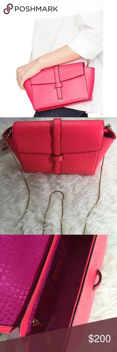 """Kate Spade Riverside Street Emmie Purse Kate Spade riverside street ostrich Emmie purse. Crossbody bag with removable strap. Flap closure. Ostrich embossed leather. Interior slide pockets. Interior zipper pocket. 14 karat gold plated hardware. Drop length 21.7"""". Total strap length approx. 43.3"""". Hot rose color. Wallet sold separately. kate spade Bags Crossbody Bags"""
