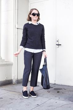 Trini | The Row sunglasses J.Crew shirt Equipment sweater Isabel Marant trousers The Row for Superga slip on sneakers Celine cabas bag