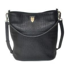 Decadent 423 Big Bucket Bag W/ Buckle Alligator Black