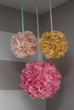 DIY Pom Poms and even prettier than the tissue ones