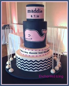 "A whale of a cake (served over with a theme borrowed from Vineyard Vines (a preppy clothing retailer with a whale logo). That was a lot of navy fondant to make. ""I love coloring fondant Navy blue'"" said no one ever. Sweet 16 Cakes, Cute Cakes, Sweet 16 Birthday, Happy Birthday, Sweet 16 Parties, Cake Servings, Baby Shower Cakes, Let Them Eat Cake, Vineyard Vines"