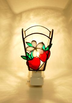 strawberry stained glass light