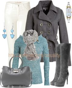 """""""White Jeans & Blue Button Sweater"""" by casuality on Polyvore"""
