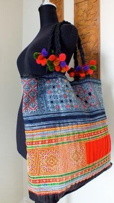 Hmong Ethnic handmade bag vintage work beautiful,Boho Bags, Bohemian Handbags, Unique Bag. $29.99, via Etsy.