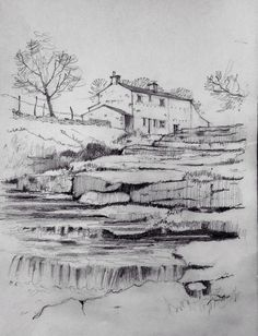 Black pencil drawing 13 awesome langstrothdale in the yorkshire dales pencil sketch john edwards Pen Sketch, Watercolor Sketch, Drawing Sketches, Art Drawings, Drawing Ideas, Landscape Sketch, Landscape Drawings, Landscape Art, Easy Pencil Drawings
