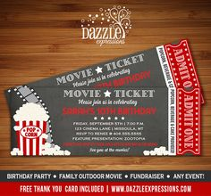 Printable Chalkboard Movie Ticket Birthday Invitation | Movie Night | Fundraiser Event | Kids Party | Family Movie Night Party | Outdoor Movie | Theater | Popcorn | DIY | Digital File | FREE thank you card included | Matching printable party package available! Banner | Cupcake Toppers | Favor Tags | Water Bottle Labels | www.dazzleexpressions.com