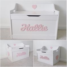 A stunning personalised white toy box. An ideal addition to a child's bedroom or nursery. Girls Toy Box, Kids Toy Boxes, Toy Storage Boxes, Wooden Toy Chest, Wooden Toy Boxes, White Toy Box, Personalised Toy Box, Diy Toy Box, Little Girl Toys