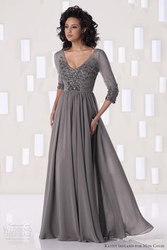 I'm liking this dress.......kathy ireland for mon cheri fall 2012 evening gown smoke gray #josephine#vogel
