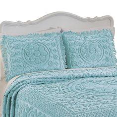 Yellow Bedspread, Aqua Bedding, Chenille Bedspread, Bedding Shop, Glam Bedding, White Bedspreads, Comforters, King Pillows, Pillow Shams