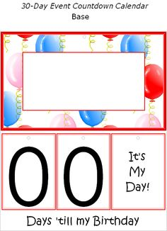 FREE Printable Birthday Event Countdown Calendar - Decorations at Kid Scraps