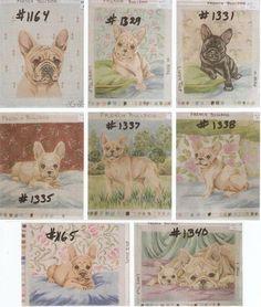 9 French Bulldog Needlepoint DOG Canvases Designed Hand Painted Lindy Tilp | eBay
