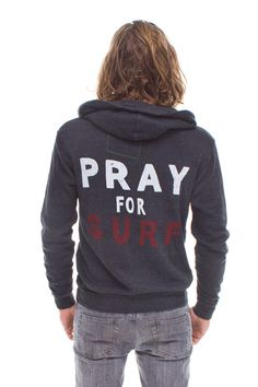PRAY FOR SURF HOODIE - CHARCOAL