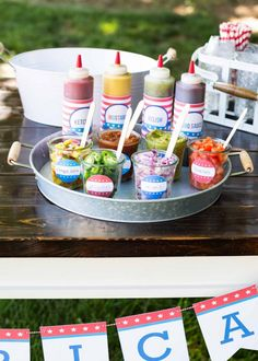 Hot Dog Toppings Bar for the 4th of July - setting up for guests