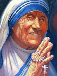 Oil painting portrait of Mother Teresa with hands in prayer position, grasping a rosary. Mother Teressa, Bobs For Round Faces, Fantasy Girl, Great Love, Drawing S, Art Day, Insta Art, Original Artwork, Modern Art