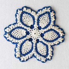 Imagen del patrón de la vendimia de los azules Potholder ganchillo