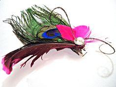 Peacock Pink Fuschia Feather Hair Clip Fascinator