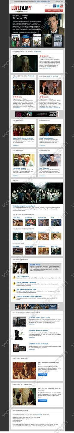 Company: LOVEFiLM UK Ltd Subject: Film Lover's Essential Cinema: LOVEFiLM Instant TV Special - Lost, Doctor Who, Outnumbered + more             INBOXVISION, a global email gallery/database of 1.5 million B2C and B2B promotional email/newsletter templates, provides email design ideas and email marketing intelligence.  http://www.inboxvision.com/blog  #EmailMarketing #DigitalMarketing #EmailDesign #EmailTemplate #InboxVision #Emailideas #NewsletterIdeas