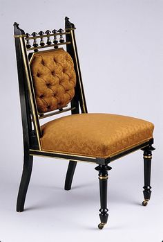 Side Chair George Jakob Hunzinger Date: ca. 1878 Geography: Mid-Atlantic, New York City, New York, United States Culture: American Medium: Ebonized cherry, brass Home Decor Furniture, Home Furnishings, Furniture Design, Victorian Furniture, Antique Furniture, Side Chairs, Dining Chairs, Sofas, Love Chair