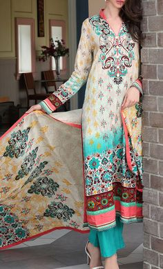 Buy Multi-Color Printed Cotton Lawn Dress by Firdous Love Spring Collection 2015.