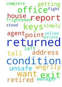 Dear God,  I returned the keys and exit condition report - Dear God, I returned the keys and exit condition report to the real estate agent. I got abused by a property manager I have never met before. She stood tall and leaned over me angrily, when I asked why she used the email address of a former and retired employee instead of her own. She spat at me with the words That is none of your business I dont have to answer to you She frightened me, to the point that I felt unsafe in that office…