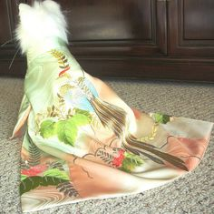 Soft peach and green dog kimono