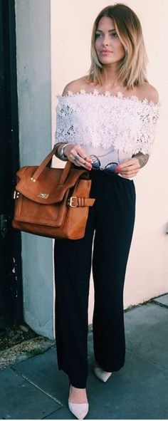 #street #style #blackandwhite #spring #inspiration | White Lace Off The Shoulder Top + Black Pants | Caroline Receveur