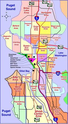 Map of Seattle Washington Neighborhoods | Many of our neighborhoods have individual street maps of the area. The ...