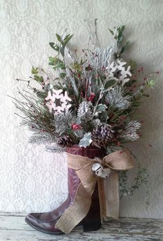 Christmas Arrangement, Cowboy boot, Holiday Floral, Door decor, Wall decor, Table Decoration, Country Christmas,