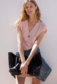 Madewell Vacances Dress, Oversized Jean Jacket and East-West Transport Tote