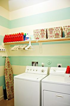 Aqua stripe laundry room