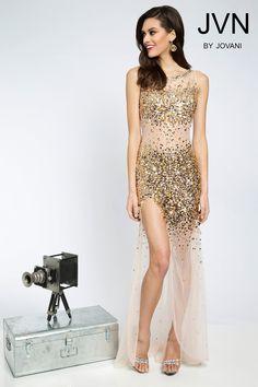 http://madamebridal.com/jovani-jvn21738-prom-dress-sheer-back-sparkling-gold-beaded-illusion-slit-skirt.html  Jovani JVN21738 Sheer Back Sparkling Gold Beaded Illusion Slit Skirt - Fitted, Bateau