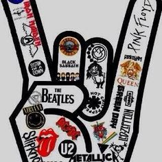 """I love this design! However, I only love/know like of the heavy metal/rock bands in this """"rock sign"""" but I'm sure they're all amazing!<< This is amazing, Kinds Of Music, Music Is Life, Good Music, My Music, Live Music, Heavy Metal, Mundo Musical, Music Rock, Rock Music Artists"""