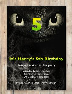 How to train your dragon Party Invitation by FlurgDesigns on Etsy, £5.00