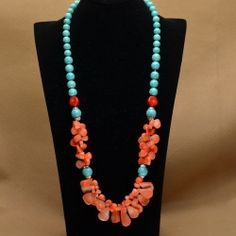 "Sea Coral Turquoise Howlite Gemstone Necklace 31 1 2"" | eBay"