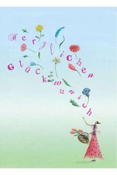 Postkarte Herzlichen Glückwunsch Blumen Happy Birthday Cards, Birthday Greetings, Birthday Wishes, Lettering, Happy Birthday, Princesses, Happy Birthday Images, Congratulations Flowers, Cute Drawings